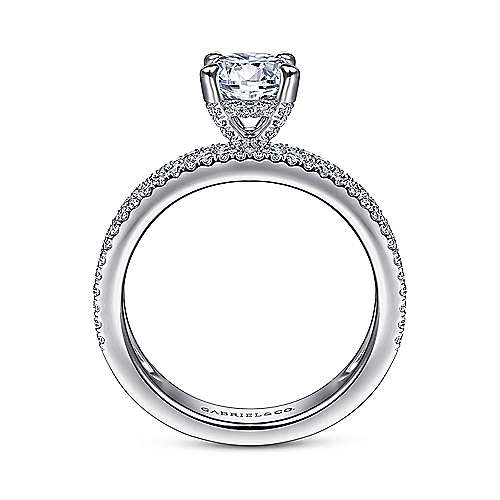 14K White Gold Wide Band Round Diamond Engagement Ring