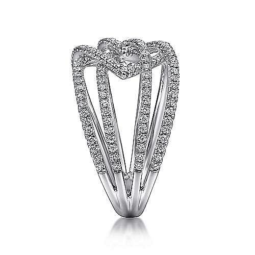 14K White Gold Wide Band Split Shank Pavé Diamond Ring