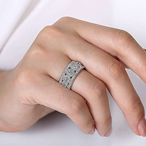 14K White Gold Wide Diamond Anniversary Band