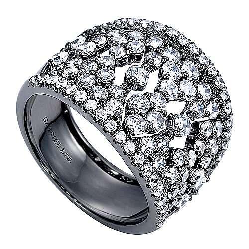 14K White Gold Wide Diamond Pattern Ring