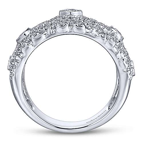14K White Gold Wide Diamond Pavé Ring