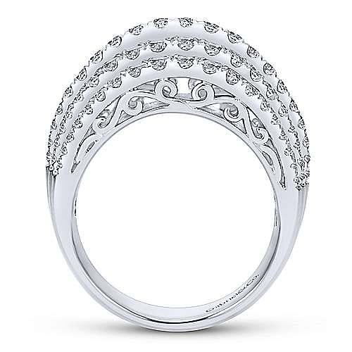 14K White Gold Wide Diamond Pavé Ring