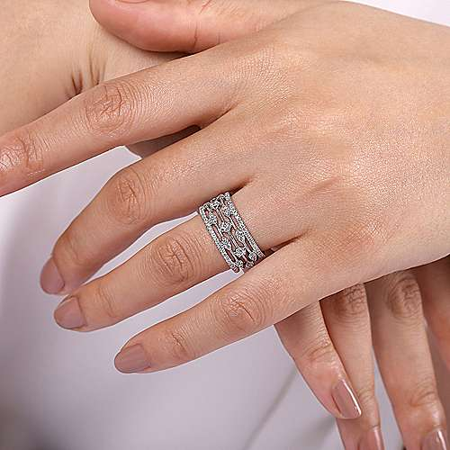 14K White Gold Wide Five Row Diamond Station Ring