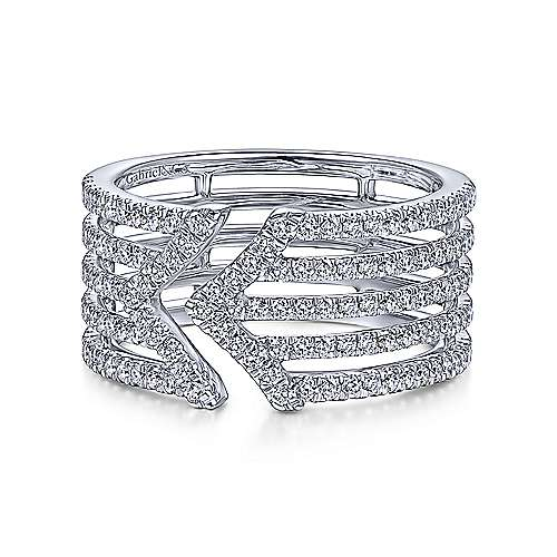 14K White Gold Wide Five Strand Open Diamond Ring