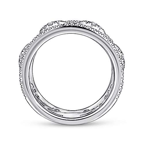 14K White Gold Wide Open Diamond Pattern Ring