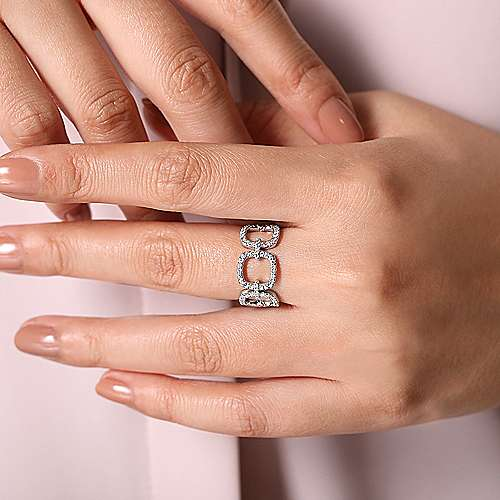 14K White Gold Wide Open Diamond Square Ring