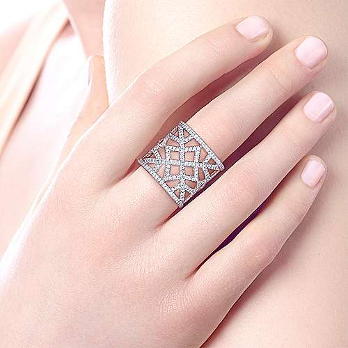 14K White Gold Wide Open Geometric Diamond Ring