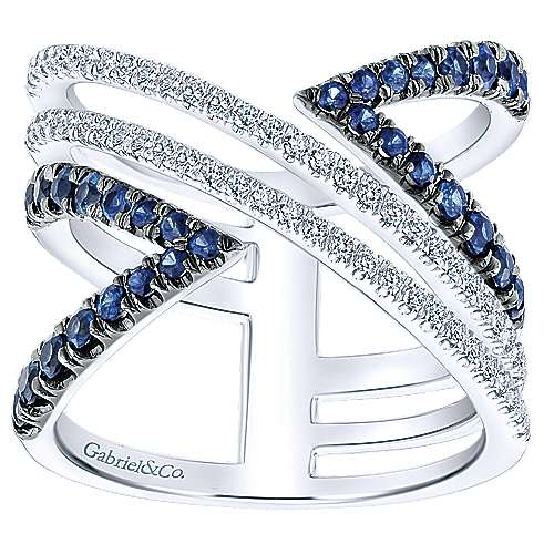 14K White Gold Wide Open Geometric Sapphire and Diamond Ring