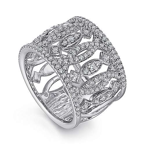 14K White Gold Wide Open Pattern Diamond Ring