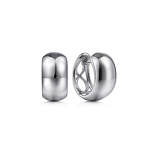 14K White Gold Wide Smooth Huggies