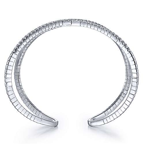14K White Gold Wide X Diamond Bangle