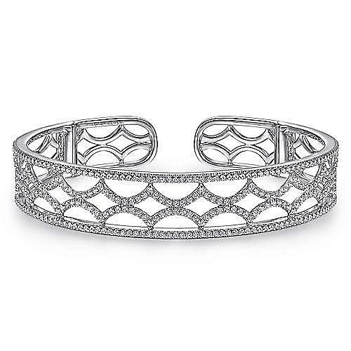 14K White Gold Wide Zig Zag Diamond Cuff Bracelet