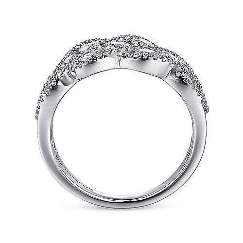 14K White Gold Woven Diamond Statement Ring