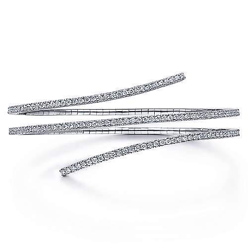 14K White Gold Wraparound Diamond Bangle