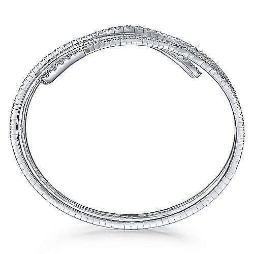 14K White Gold Wraparound Diamond Bangle