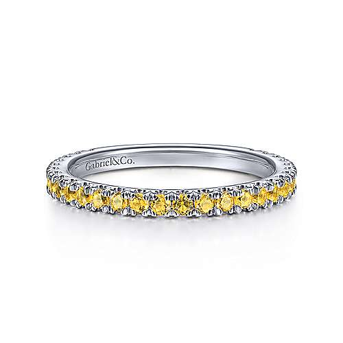 14K White Gold Yellow Sapphire Stackable Ring
