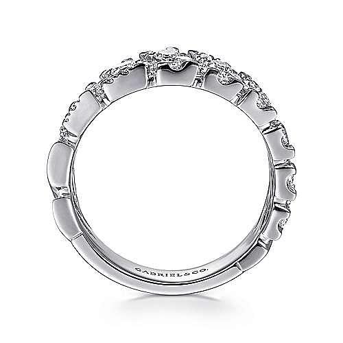 14K White Gold Zig Zag Diamond Spike Ring