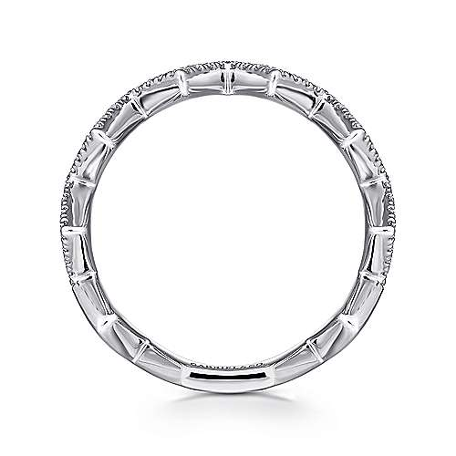 14K White Gold Zig Zag Stackable Diamond Ring
