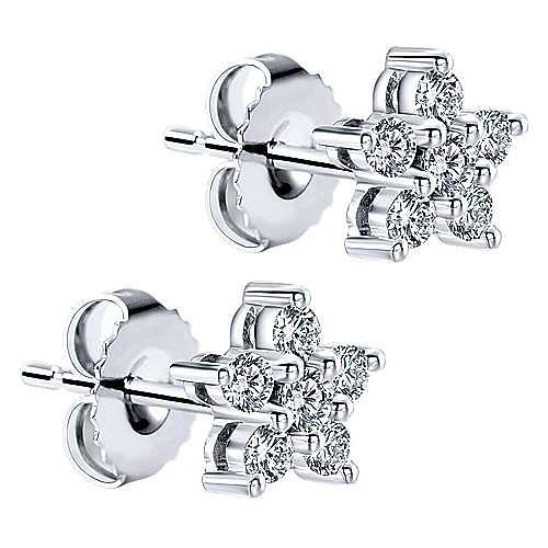 14K White Gold and Diamond Star Stud Earrings