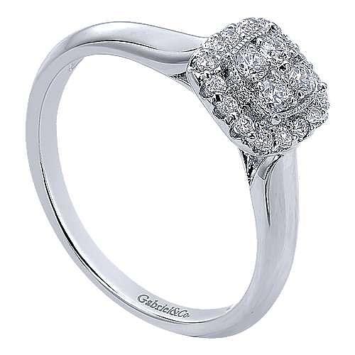 14K White GoldCushion Cluster Halo Diamond Engagement Ring