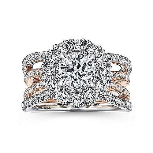14K White-Pink Gold Engagement Ring