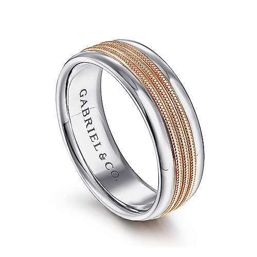 14K White-Rose Gold 7mm - Center Rope Channels and Polished Edge Men's Wedding Band