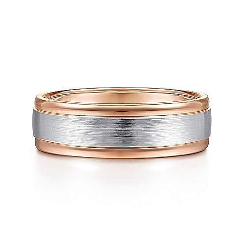 14K White-Rose Gold 7mm - Satin Finish Center and Polished Edge Men's Wedding Band