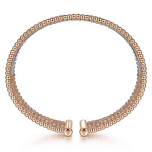 14K White-Rose Gold Bujukan Bead Cuff Bracelet with Diamond Channels