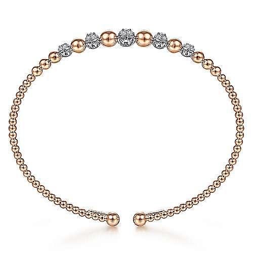 14K White-Rose Gold Bujukan Bead Cuff Bracelet with Pavé Diamond Stations