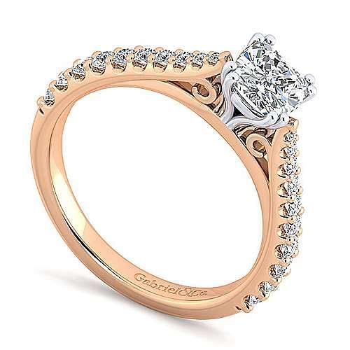 14K White-Rose Gold Cushion Cut Diamond Engagement Ring