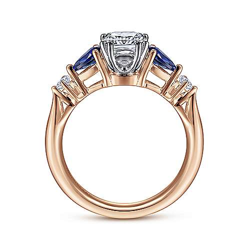 14K White-Rose Gold Cushion Cut Five Stone Sapphire and Diamond Engagement Ring