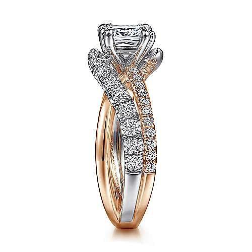 14K White-Rose Gold Cushion Cut Free Form Diamond Engagement Ring