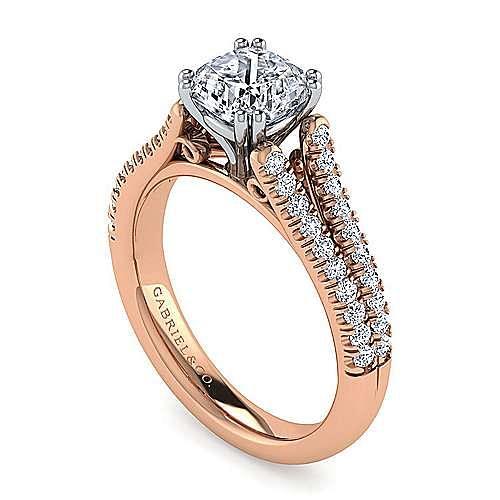 14K White-Rose Gold Cushion Cut Split Shank Diamond Engagement Ring