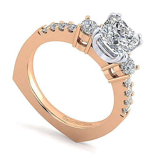14K White-Rose Gold Cushion Cut Three Stone Diamond Engagement Ring