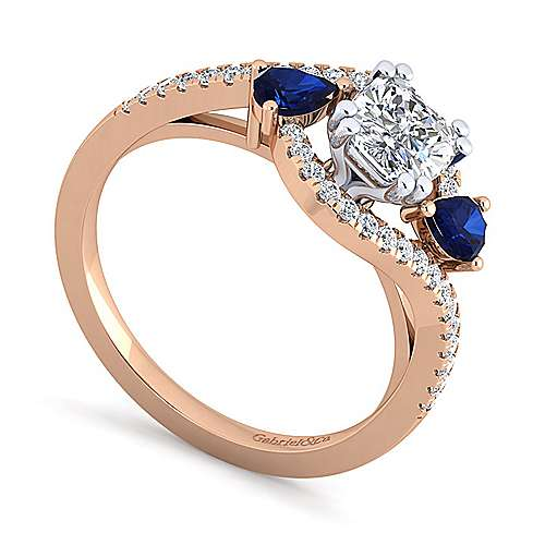 14K White-Rose Gold Cushion Cut Three Stone Sapphire and Diamond Engagement Ring