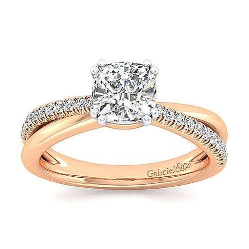 14K White-Rose Gold Cushion Cut Twisted Diamond Engagement Ring