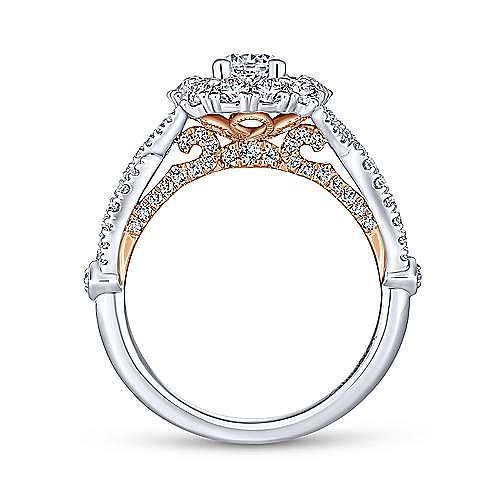 14K White-Rose Gold Cushion Double Halo Round Diamond Engagement Ring