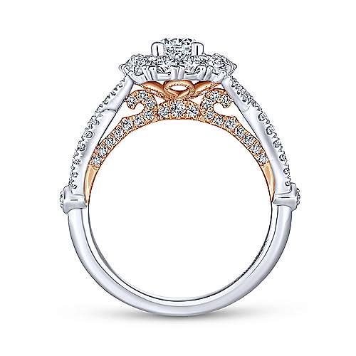 14K White-Rose Gold Cushion Double Halo Round Diamond Engagement Ring