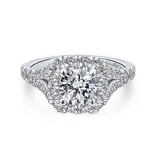 Gabriel - 14K White-Rose Gold Cushion Halo Round Diamond Engagement Ring