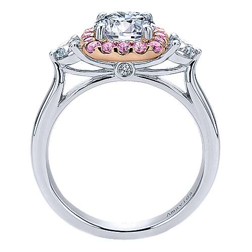 14K White-Rose Gold Cushion Halo Round Pink Sapphire and Diamond Engagement Ring