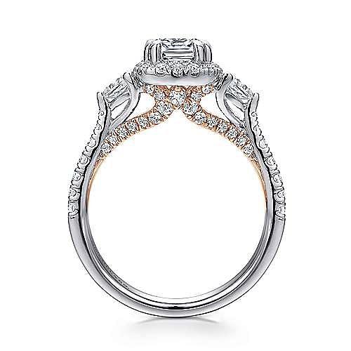 14K White-Rose Gold Cushion Halo Three Stone Diamond Engagement Ring