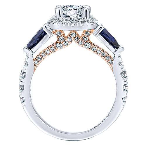14K White-Rose Gold Cushion Three Stone Halo Round Sapphire and Diamond Engagement Ring