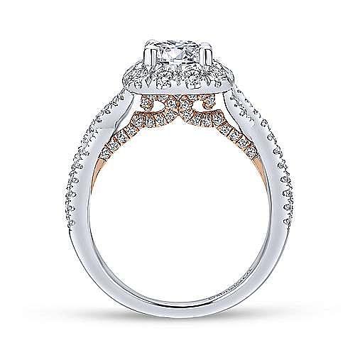 14K White-Rose Gold Diamond Engagement Ring