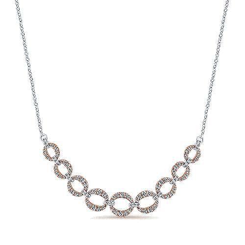 14K White-Rose Gold Diamond Link Necklace