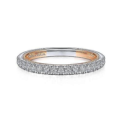 14K White-Rose Gold Diamond Matching Wedding Band