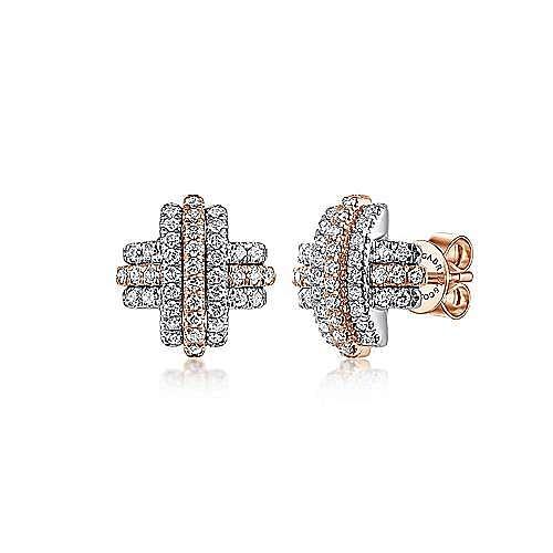 14K White-Rose Gold Diamond X Stud Earrings
