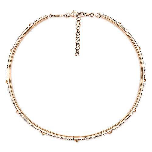 14K White-Rose Gold Diamond and Pyramid Station Choker Necklace