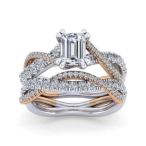 14K White-Rose Gold Emerald Cut Diamond Twisted Engagement Ring