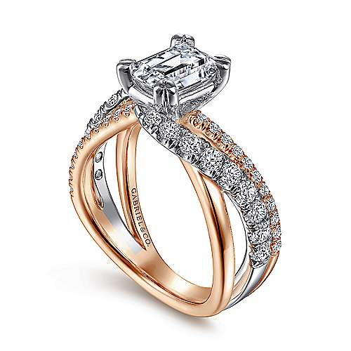 14K White-Rose Gold Emerald Cut Free Form Diamond Engagement Ring