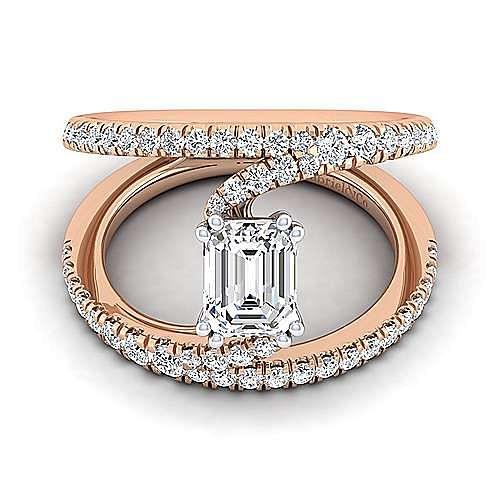 14K White-Rose Gold Emerald Cut Split Shank Diamond Engagement Ring
